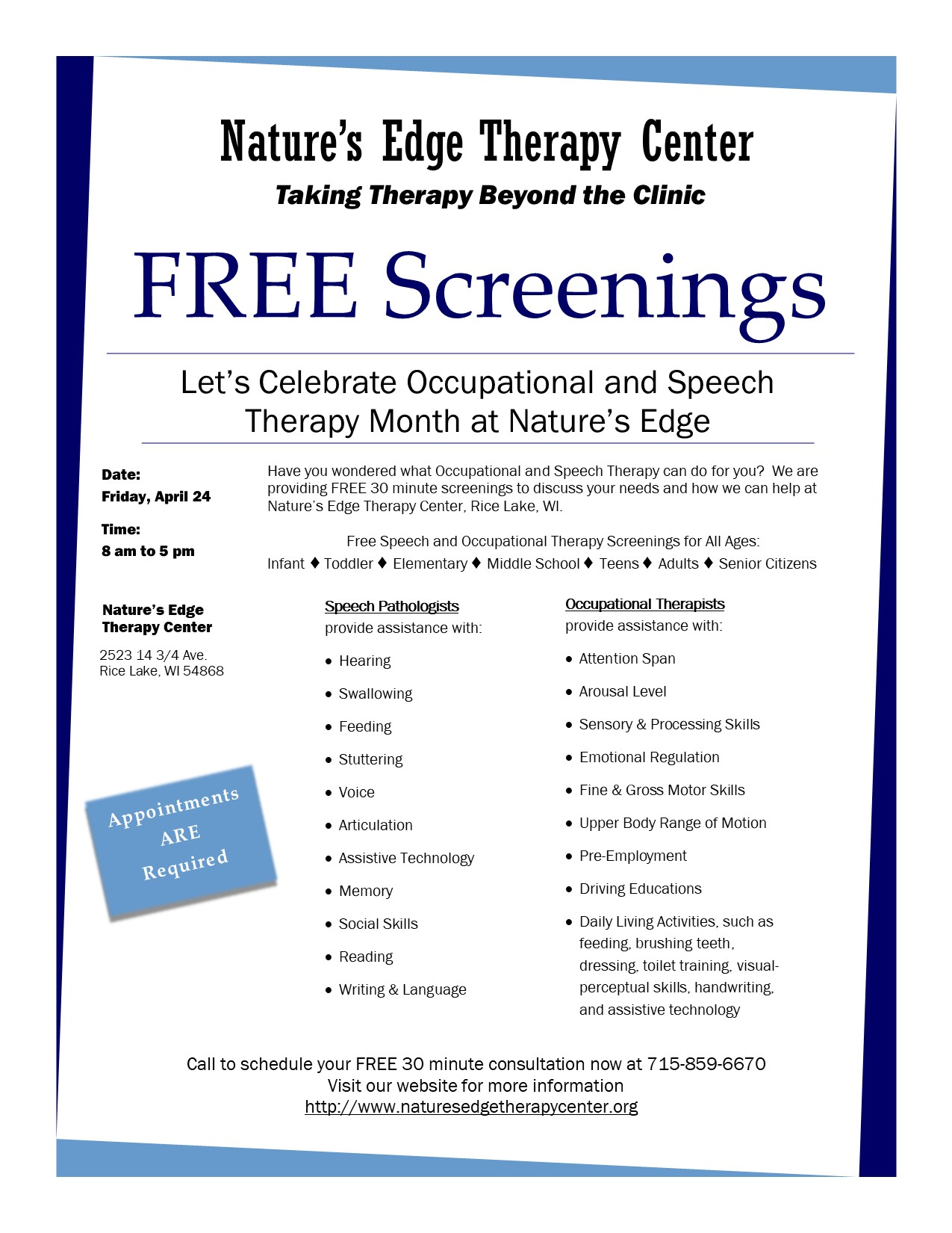 Nature's Edge Therapy Center April 2020 Free screening clinic flyer