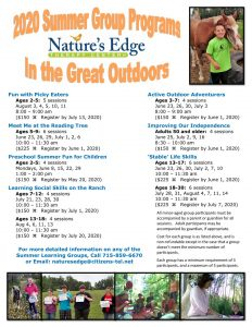 Nature's Edge Therapy Center 2020 summer programs - Rice Lake, Wisconsin